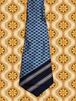 A338✪ original 70er Jahre Kult Retro Krawatte Hippie Muster dunkelblau hellblau
