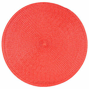 33cm Round Woven Red Fabric Placemats Dining Room Table Place Setting Mats Decor