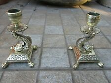 VINTAGE BRASS LOVELY PAIR CANDLE HOLDER CANDLESTICK ORNATE FISH TABLE DECOR