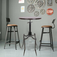 Rustic Steel Bar Table Round Wood Top Dining Room Pub Furniture Indoor Outdoor