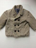Baby Gap Toddler Boys 18-24 Months Quilted Lined Corduroy Jacket Tan Peacoat
