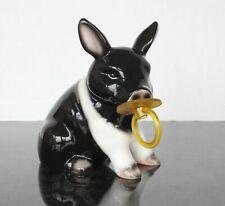 "7.5"" Youngs Baby Piggy Bank Black White Pacifier Hog Money Savings Animal"