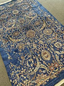 8' X 10' Transitional Hand Knotted  Area Rug Sari Silk Floral  Navy Blue Rare A+