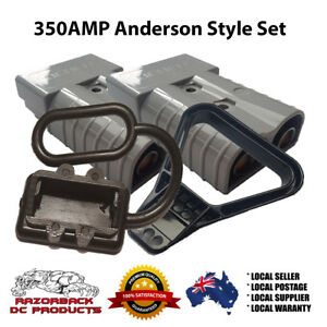 350 AMP ANDERSON STYLE PLUG SET - 2x PLUGS, DUST CAP and HANDLE 350a Premium