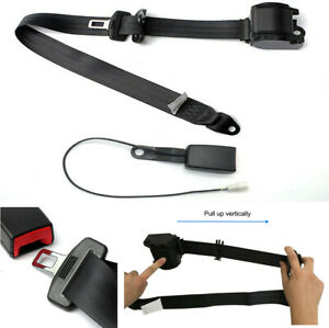 Retractable 3 Point Car Seat Belt Lap & Diagonal Belt with Warning Cable Black