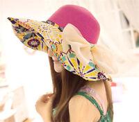 New Women Lady Folding Summer Sun Floppy Hat Straw Beach Wide Large Brim Cap 84L
