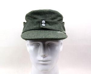 WWII German Officer M43 WH EM field  Panzer Wool Cap Hat Green 57cm