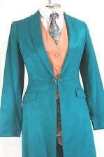 Reed Hill Ladies Saddleseat Day Coat Dark Teal Green Linen Poly Blend  14 - USA
