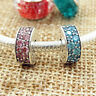 Authentic 100% 925 Sterling Silver Shining Elegance Teal And Fink CZ Clip Charm