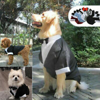 Pet Puppy Dog Costume Black Apparel Tuxedo Wedding Suit for Large Medium Small