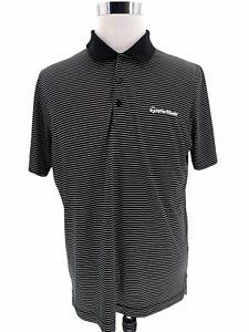 ADIDAS TAYLOR MADE Men's Short Sleeve Polo Golf Shirt Striped Black White Sz M