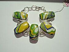 "AB Bright Rainbow Calsilica Yellow Blue White Green Bracelet Wrist Chain 7-8"""