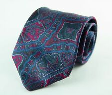 STEFANO RICCI LUXURY PRINTED SILK NECKTIE MADE IN ITALY RED BLUE GREEN PAISLEY