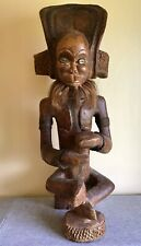 African Tribal Art Chokwe Statue large with cowrie shells & beard DR Congo