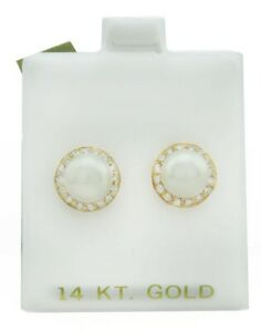 GENUINE PEARLS & DIAMONDS EARRINGS 14K YELLOW GOLD * New With Tag *