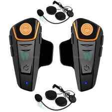2x 800m BT Bluetooth Motorcycle Motorbike Helmet Intercom Headset GPS FM Radio