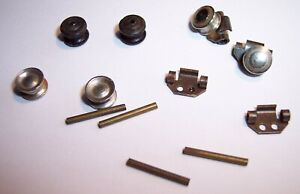 TRIANG HORNBY MINIC MOTORWAYS VEHICLE SPARES WHEELS, SUB FRAMES & RETAINING PINS
