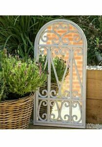 Stylish Window Mirror White Rustic Decor Wall livingroom garden flowery 71X35Cm
