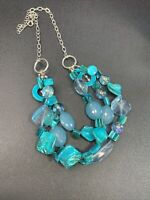 Blue blister mother of Pearl multi 3 strand BoHo pendant necklace 18+ inches