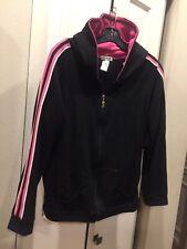GW Sport, Black Hoodie, Pink White Stripes, 1X, Activewear