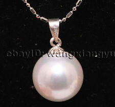 """Big 14mm white akoya shell pearl round bead pendant necklace 17"""" AAA+"""