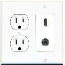 15 Amp Round Power Outlet 1 Port HDMI 3.5mm Headphone Wall Plate