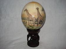 Decoupage Straussenei Straußenei Giraffe Giraffenfamilie Giraffen Steppe