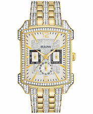 *BRAND NEW* Bulova Men's Crystal Gold Tone Stainless Steel Bracelet Watch 98C109
