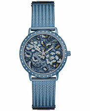 NWT GUESS Women's Willow Sky Blue Floral Mesh Bracelet Watch 35mm U0822L3