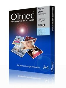 Olmec 190gsm Photo Glossy Lightweight Inkjet Paper A4/100 Sheets (OLM62A4)