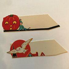 Vintage Halloween Cardstock Name Card Placecard Imp Owl Jack Lantern Whitney bb