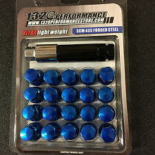 Blue 12x1.5 Steel lug nuts & lock 20 pcs honda acura toyota civic integra supra