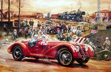 Large Framed Print - Vintage Race Car Driving (Formula 1 F1 Picture Poster Art)
