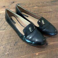 Rachel Zoe Size 10 Black Patent Leather Ballet Flats Loafers Career Gold Logo