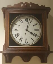 Antique Working Ingraham Oak Gallery Galley Lobby Regulator Wall Clock c.1900