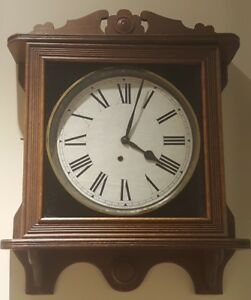 Antique Working Ingraham Oak Gallery Galley Lobby Regulator Wall Clock c.1900