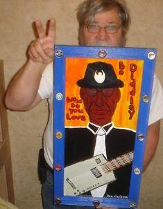 Blues Singer Bo Diddley HOB Dan Ciesielski Dan C outsider folk art original Raw