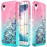 Motorola Moto E5 Play/E5 Plus E6 Glitter Liquid Bling Case Cover +Tempered Glass