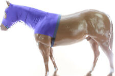 Horse Hood Slinky Lycra Zippered Mane Braid Shoulder Guard Purple Medium