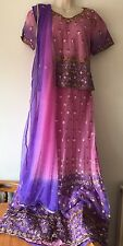 Ladies Size M- L Lehenga Coli In Pink& Purple With Sequins & Waier Work In VGC