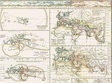 Echte 167 Jahre alte Landkarte WELTKARTE Orbis Terrarum Antique World Map 1850