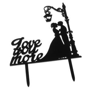 Couple Silhouette Bride Groom Love You More Wedding Cake Topper Decoration