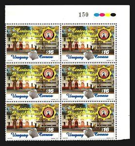 Technical Police fingerprint microscope URUGUAY #2105 block x6 MNH $15