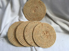 """VINTAGE Set of 5 Round Woven Rattan Straw Wicker Placemats 7.8"""""""