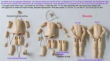 """Corps 21 cm  de poupée ancienne en bois reproduction d'ancien  """"Bleuette"""""""