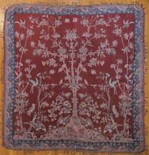 Chinoiserie, Jacquard Throw or Bedspread. Wool & Silk. Burgundy & Blue Jamawar