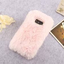 Crystal Plush Case Soft Fluffy Rabbit Fur Phone Cover For Various Samsung Models