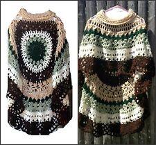 Asymmetric Long Poncho Circular Shawl Crochet Pattern Printed PDF