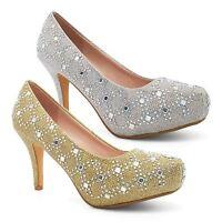 Womens Diamante Ladies Mid Heel Concealed Platform Court Shoes Pumps Party Size