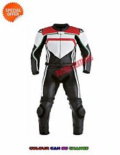 Two piece racing leather suit in red white motorbike gears motogp suit all sizes
